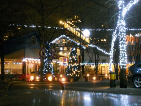The festive lights at Granville Island.