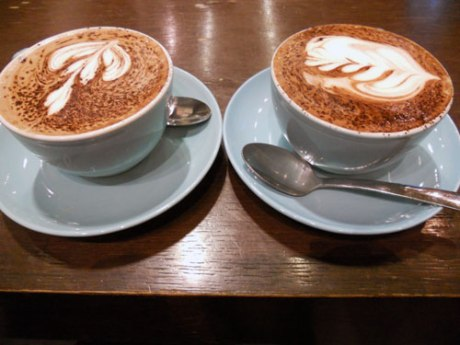 Super rich and strong hot chocolate, beautifully presented at 49th Parallel.