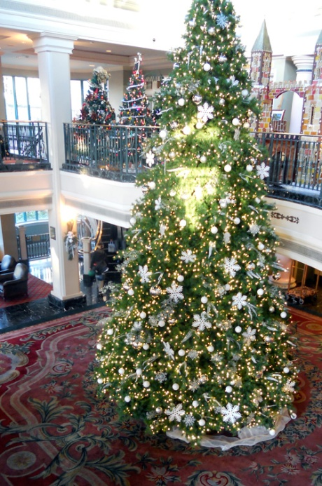 And the tree in the main lobby, this year in white and silver.