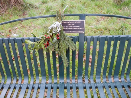 Was touched by this memorial bench and the wild offering in memory.