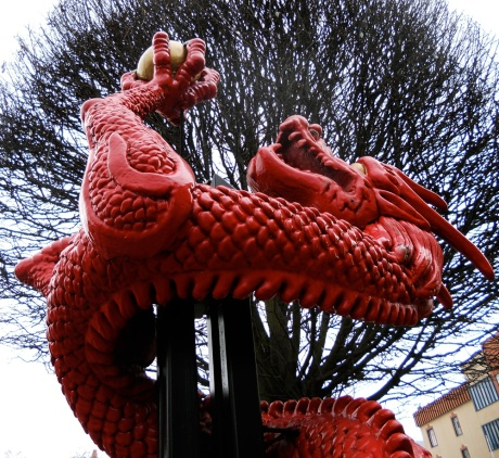 This dragon adorns the corner of Government Street and Pandora Avenue.
