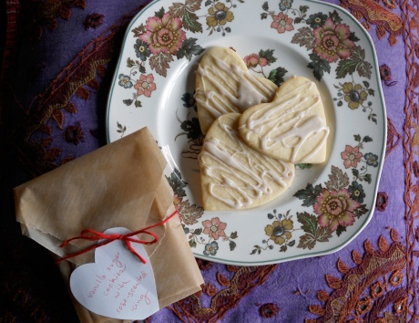 Vanilla sugar cookies with rose-scented icing, packaged and ready to deliver to friends.
