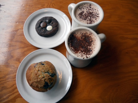 The hot chocolates and triple chocolate cookie are obvious in their deliciousness, but don't be fooled by the plain look of that muffin: lemon, lavender and wild blueberry – just divine!