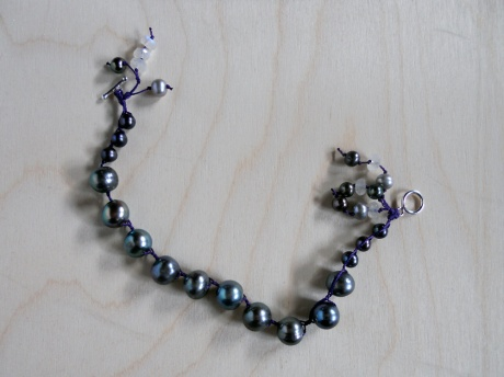 Bracelet of blue-grey pearls and moonstone. Firehorse Designs, Victoria BC.