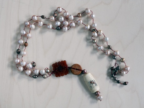 Pearls, jade, wood and painted bone. Firehorse Designs, Victoria BC.