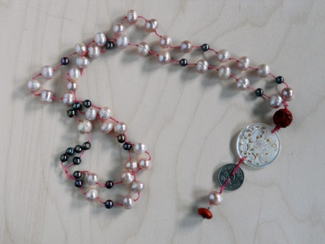 Pearls, mother of pearl and coin. Firehorse Designs, Victoria BC.