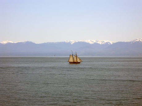One of our local SALTS training vessels with the magnificent Olympic peninsula behind.
