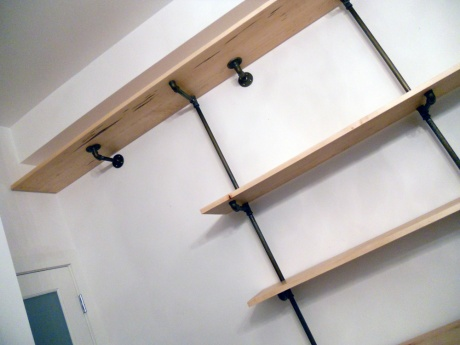 A recent install of maple and pipe shelving at another neighbourhood treasure, Arrogant Pirate in Dragon Alley.