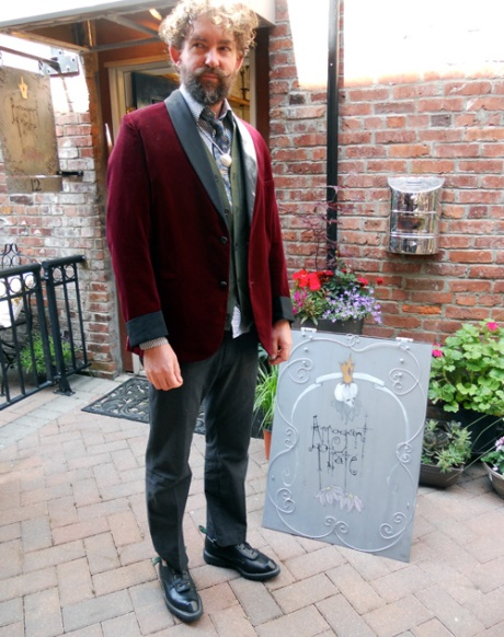 GJ is looking mysterious in his Swordfish from the mid-1990s. Vintage Tie and velvet smoking jacket complete his ensemble. At Arrogant Pirate, Dragon Alley, Victoria BC.
