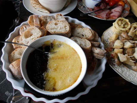 Baked brie with fig jam.