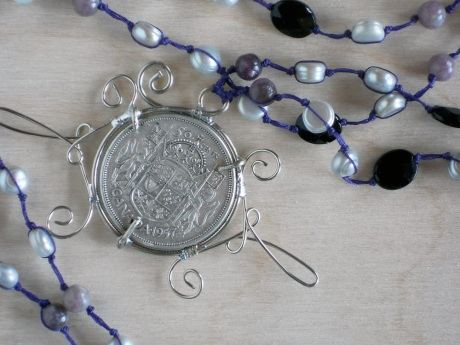 Wire-wrapped coin and pearls, detail. © Firehorse Designs 2013
