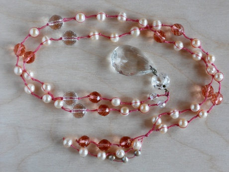 Peachy-pink pearls and faceted glass with a chandelier crystal pendant. © Firehorse Designs 2013