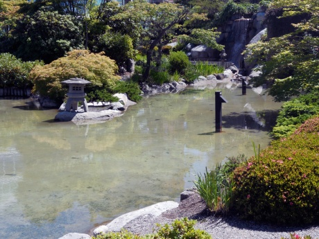 The Japanese garden at the Inn at Laurel Point.