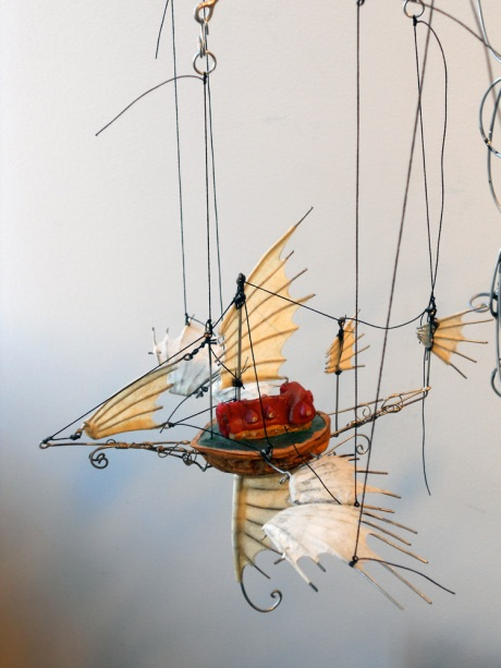 Tiny Flying Ship detail, hand-cranked kinetic sculpture by GJ Pearson.