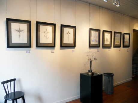 GJ's Sigils and graphite and watercolour paintings along with a new kinetic piece Tiny Flying Ship.