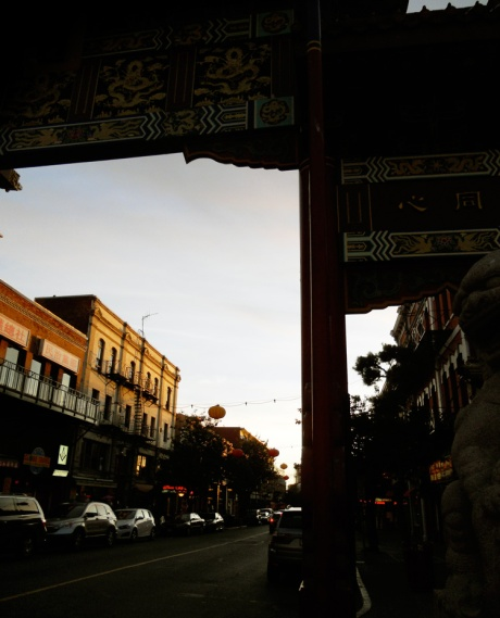 Chinatown Sunset, underneath the Gate of Harmonious Interest.