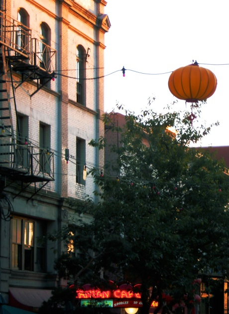 Chinatown Sunset, detail with yellow lantern.