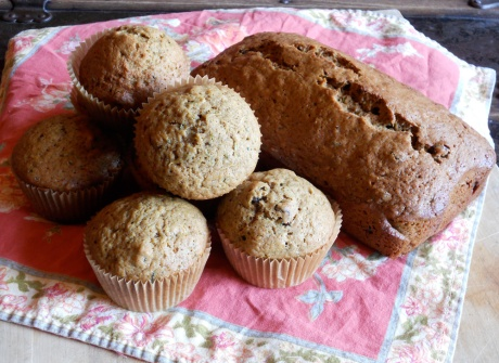 This recipe made either two loaves or 24 muffins, so I did one loaf and 12 muffins just for fun! Great flavour and texture.