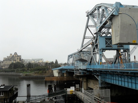What's left of our iconic Blue Bridge. The railway span has already been removed. The structure was designed by Joseph Strauss and opened in 1924. Strauss went on to design San Francisco's Golden Gate Bridge.