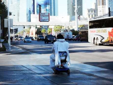 The most awesome thing we saw: Elvis riding a mobility scooter.