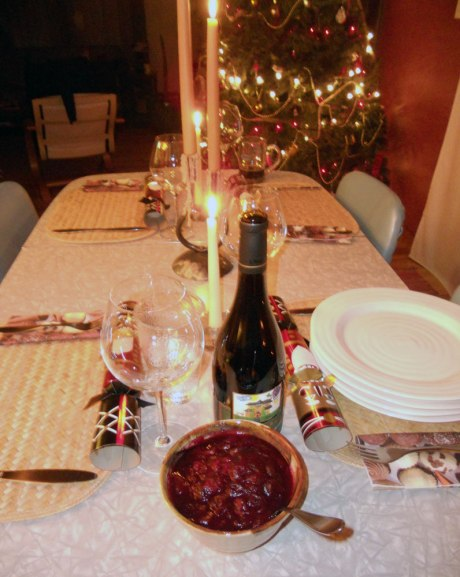 The tree is let and the table set. A warm and cozy setting for our feast.