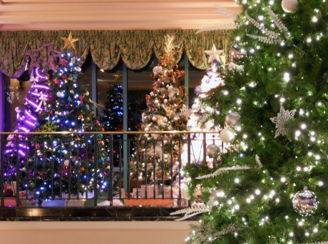 Dozens of decorated trees illuminate the lobby at The Fairmont Empress Hotel. Money raised from the public paying to vote for their favourites goes to BC Children's Hospital.