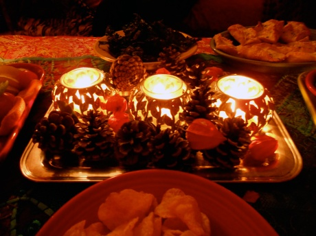 Twinkling light from candles...