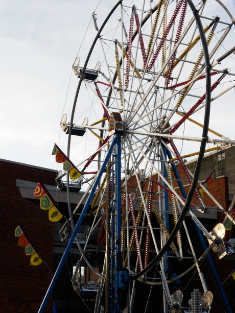 A ferris wheel has been erected in Centennial Square again this year; festive fun for all ages!