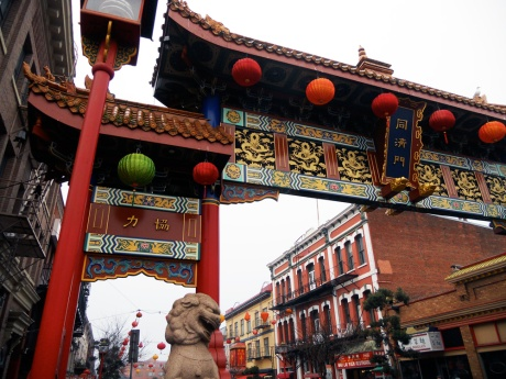 The 500-block of Fisgard Street and The Gate of Harmonious Interest, erected in 1981, are freshly adorned with new lanterns, some green, to mark the Year of the Wooden Horse.