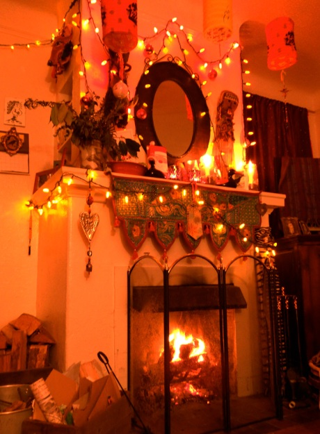 A festive setting and a roaring fire, perfect.