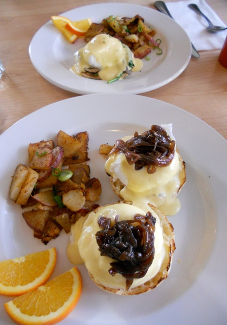 Bennys at Full Circle Cafe.  A half order of Eggs Florentine and and full of Nanny's Benny. Those caramelized onions were outrageously delicious!