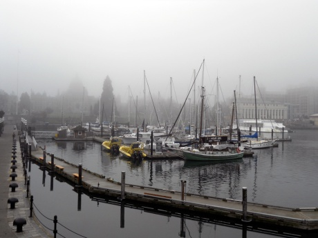 The Inner Harbour, victoria BC. The Legislature buildings almost completely obscured by fog.