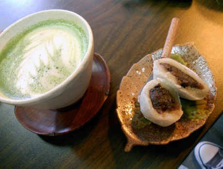 I'm loving the Maple Maccha Latte at JagaSilk, and yesterday we tried Daifuku: a traditional Japanese dessert of glutinous rice cake filled with sweet azuki bean paste. Delicious!