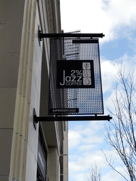 2% Jazz Coffee, 1701 Douglas Street, on the Fisgard Street side of The Hudson.