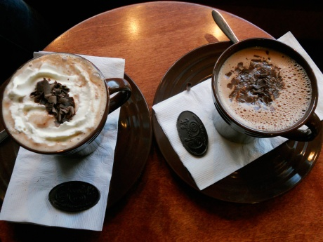 On the left, Salted Caramel Hot Chocolate, and right is a Dark Hot Chocolate without the whip.