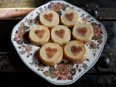 Vanilla Sablé Cookies; adapted from this recipe with cinnamon sugar hearts.
