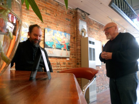 Hanging out at Dales on one of the run's Saturdays; GJ and Michael exchanging puns.