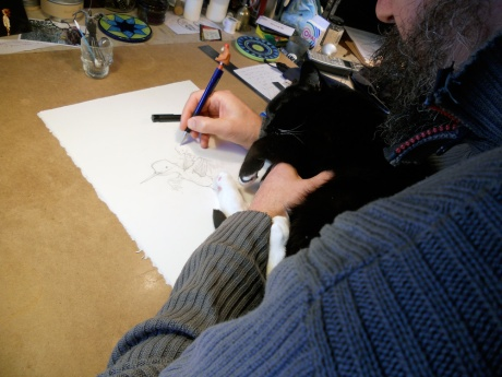 GJ works on a new drawing for a book he hopes to publish soon and Taxicab helps.