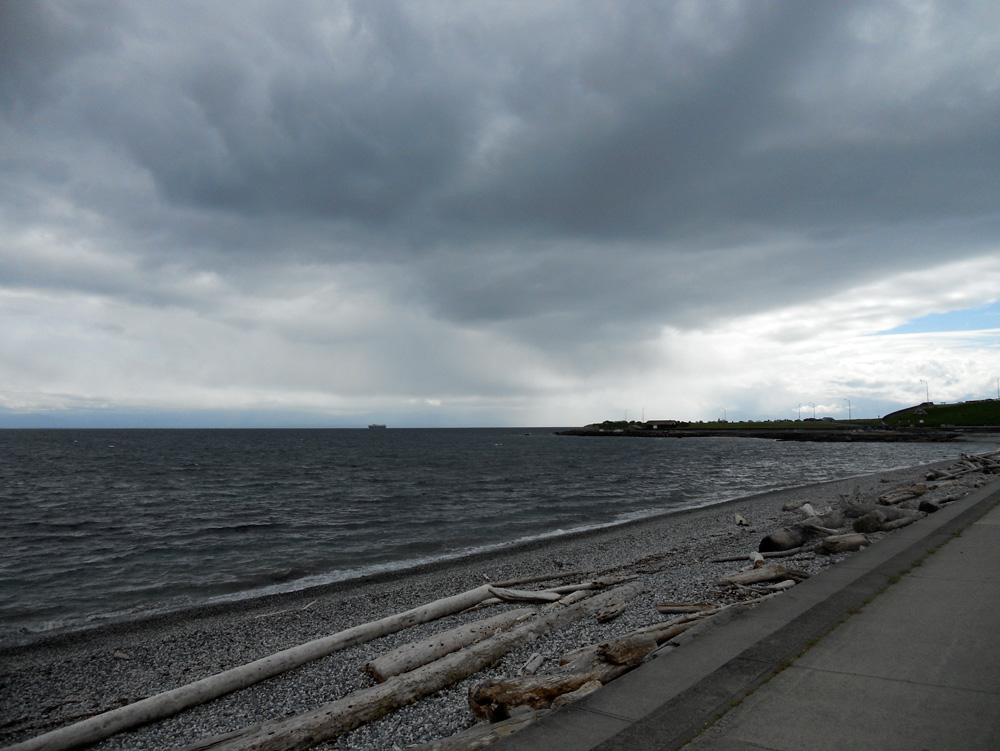 … and the view to the west, cold and stormy!
