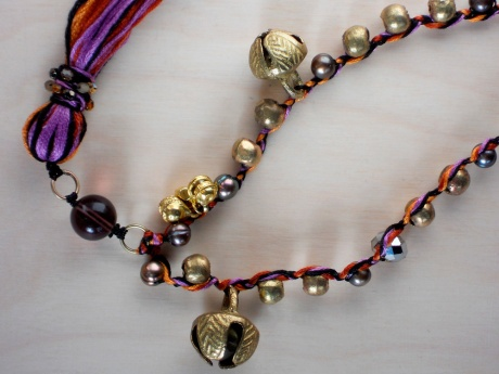 This is another piece I'm fond of; fun summery colours with cheeky brass bells.