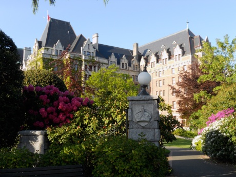 Another view of The Empress Hotel. Beautiful rhododendrons all in bloom.