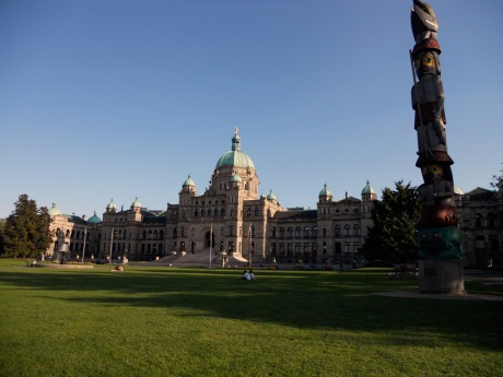 The lush lawn at the Legislative building in the rich evening light.