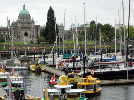 The Inner Harbour, just below the Parliament Buildings, home to the BC Legislative Assembly.