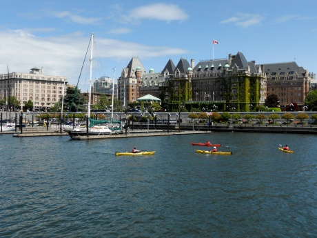 Our Inner Harbour is truly multi-use with the Coho car ferry to Port Angeles, float plane service to Vancouver and other BC locations, the Victoria Clipper high-speed ferry to Seattle as well as the harbour ferries, yachts and sail boats, and even recreational users like these kayakers.