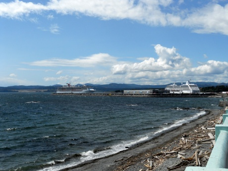 The cruise ship terminal at Ogden Point; one in and another arriving.