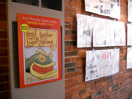 Some of the art, plus the Monster Sisters party poster.