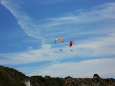 Colourful paragliders on Dallas Drive, Victoria BC.