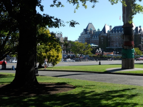 View towards The Fairmont Empress from the lawn of the Legislature.