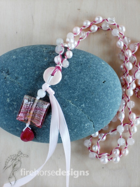 Pink pearls, rose quartz and Italian glass.