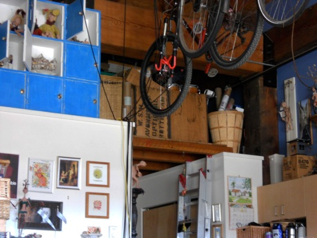 Bikes and art and storage…
